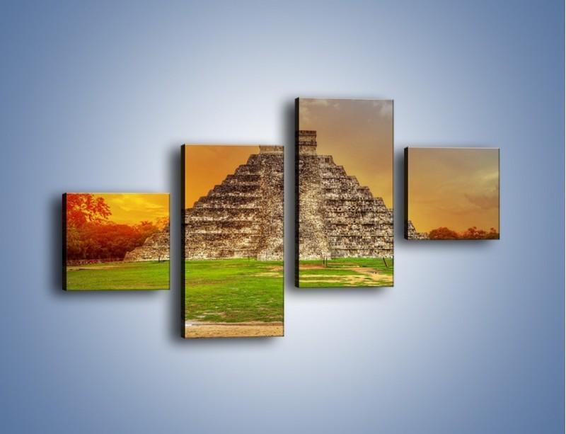 Obraz na płótnie – Piramida Kukulkana w Meksyku – czteroczęściowy AM814W3