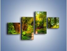Obraz na płótnie – Drewniana kładka przez las – czteroczęściowy GR007W3