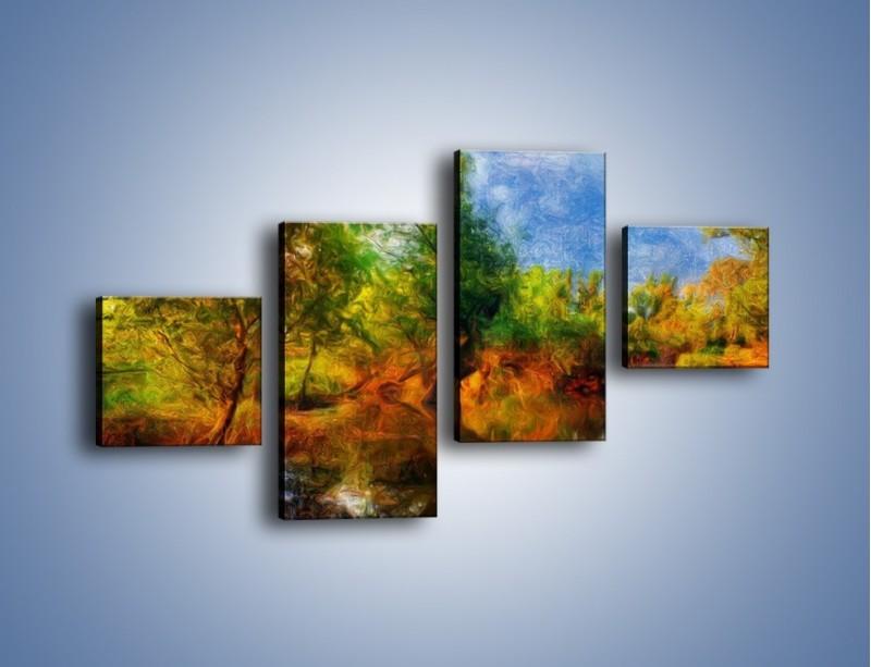Obraz na płótnie – Drzewa w wodnym lustrze – czteroczęściowy GR010W3