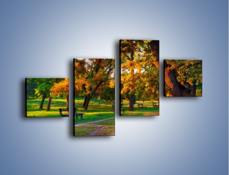 Obraz na płótnie – Ławeczka w parku – czteroczęściowy GR011W3
