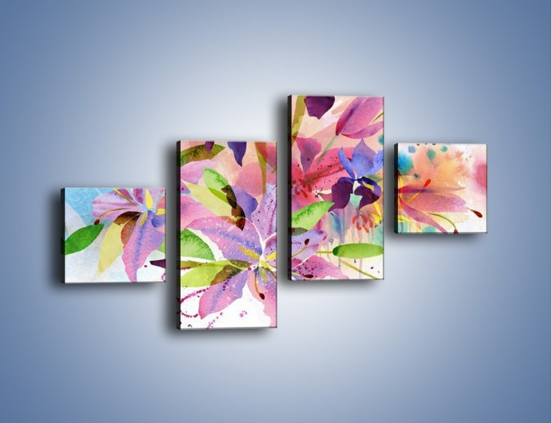 Obraz na płótnie – Kolory zachowane w kwiatach – czteroczęściowy GR043W3