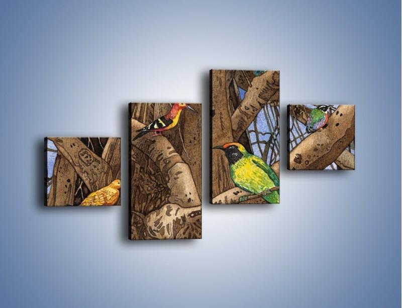 Obraz na płótnie – Mali przyjaciele na drzewie – czteroczęściowy GR050W3