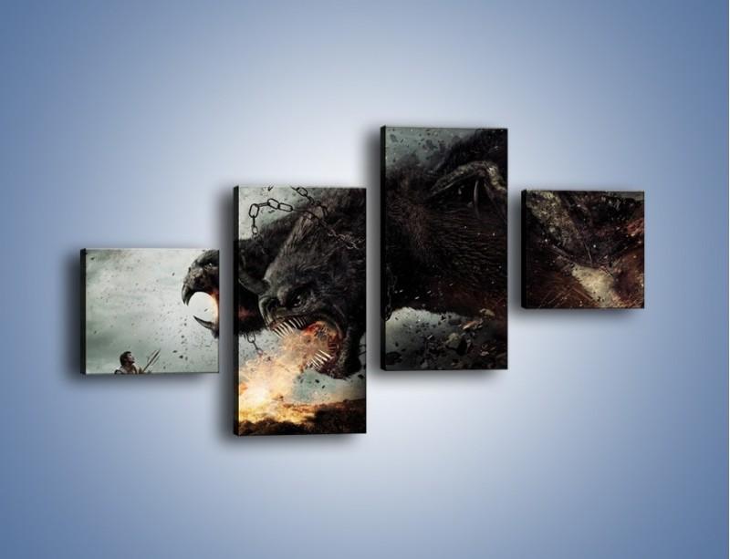 Obraz na płótnie – Groźny podmuch potworów – czteroczęściowy GR174W3