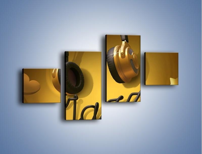 Obraz na płótnie – Złote nuty jazzu – czteroczęściowy GR305W3