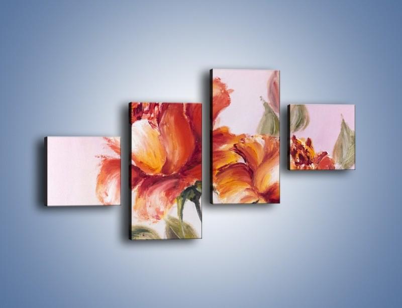 Obraz na płótnie – Kwiaty na płótnie malowane – czteroczęściowy GR322W3