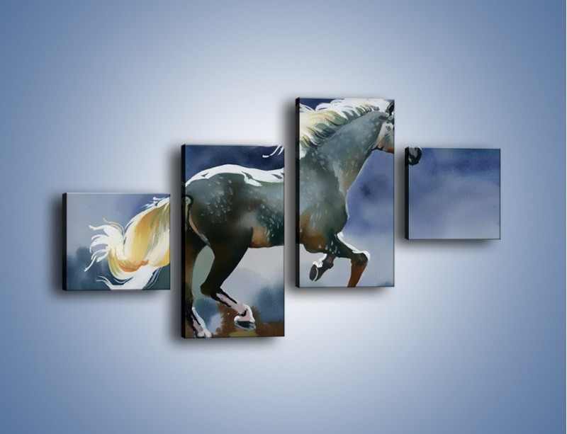 Obraz na płótnie – Bieg z koniem przez noc – czteroczęściowy GR339W3