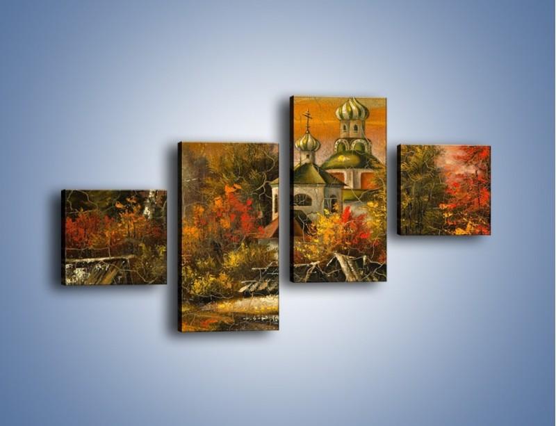 Obraz na płótnie – Kaplica późną jesienią – czteroczęściowy GR369W3