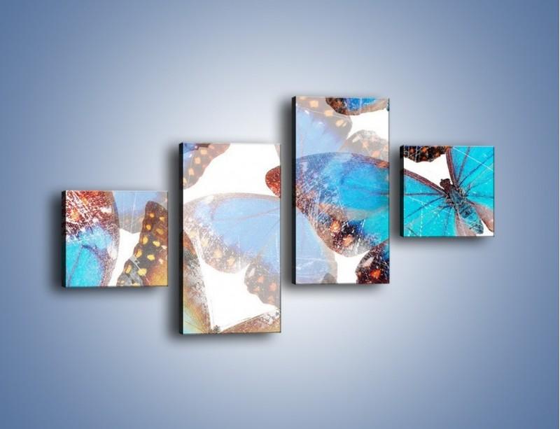 Obraz na płótnie – Motyl w niebieskim kolorze – czteroczęściowy GR403W3