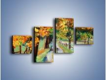 Obraz na płótnie – Aleją wśród drzew – czteroczęściowy GR487W3