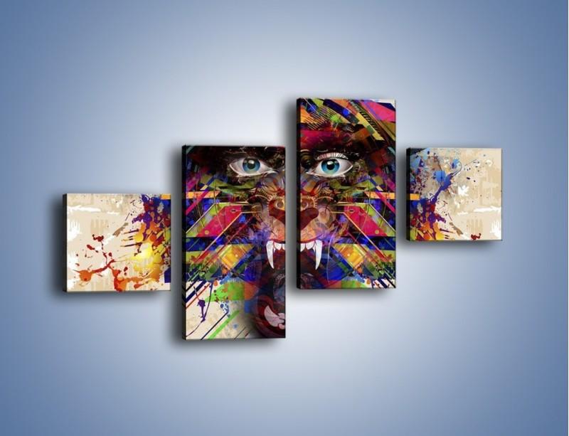 Obraz na płótnie – Groźny mimo kolorów – czteroczęściowy GR515W3