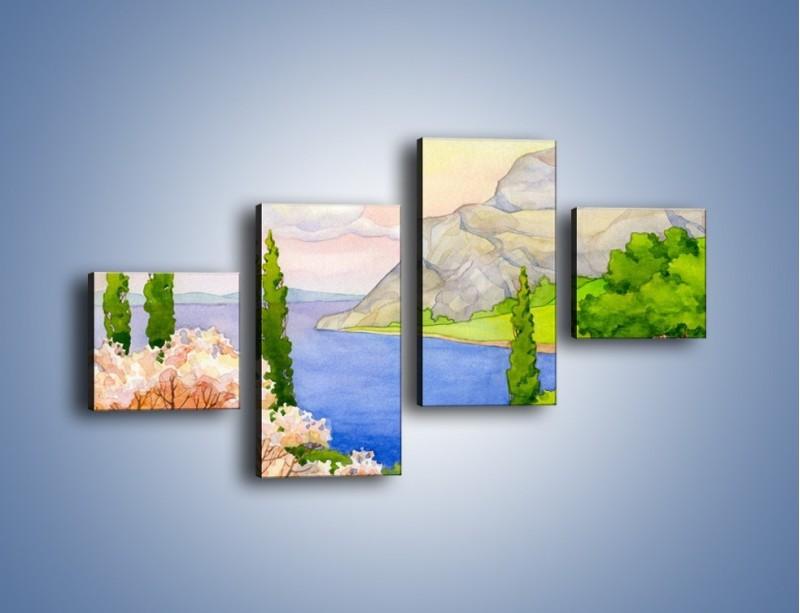Obraz na płótnie – Krajobraz jak z pocztówki – czteroczęściowy GR541W3
