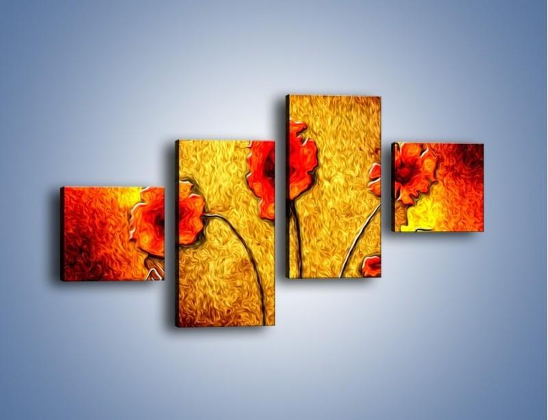 Obraz na płótnie – Maki w ogniu – czteroczęściowy GR572W3