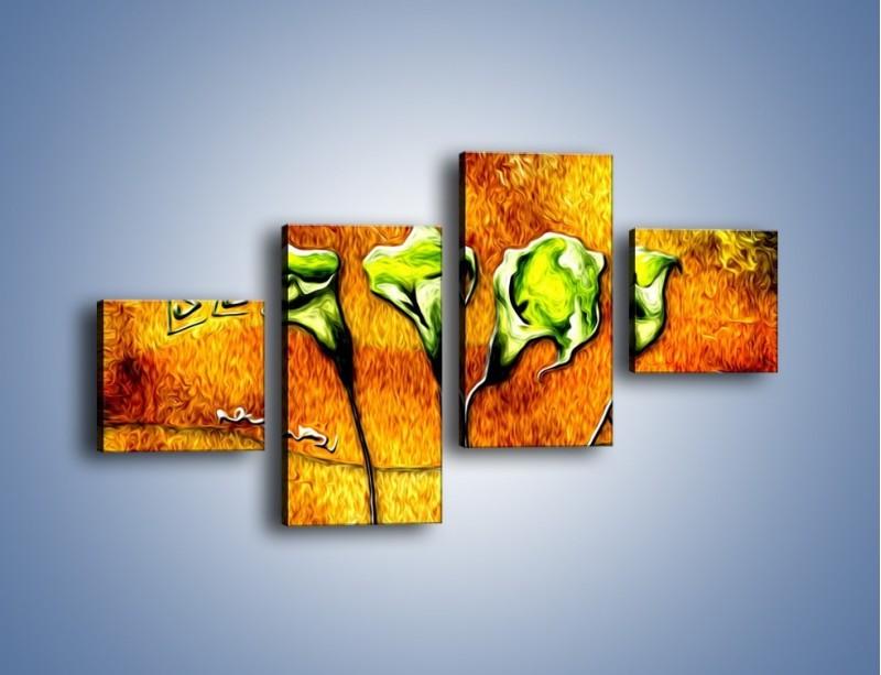 Obraz na płótnie – Zielone kalie w ogniu – czteroczęściowy GR635W3