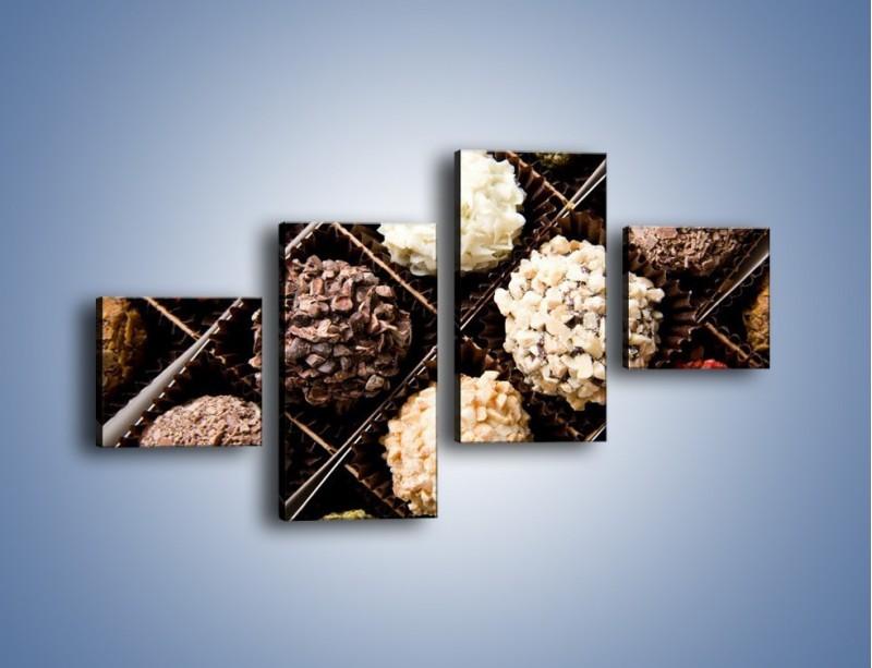 Obraz na płótnie – Kolorowy mix pralin – czteroczęściowy JN019W3