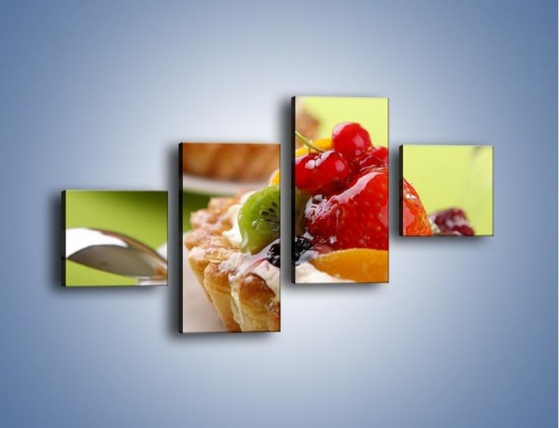 Obraz na płótnie – Owocowe babeczki z kremem – czteroczęściowy JN021W3