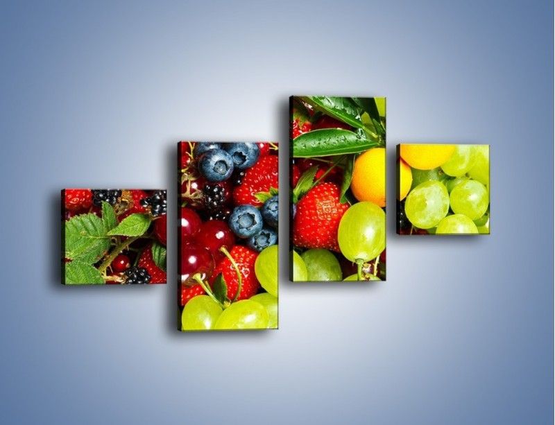 Obraz na płótnie – Wymieszane kolorowe owoce – czteroczęściowy JN037W3