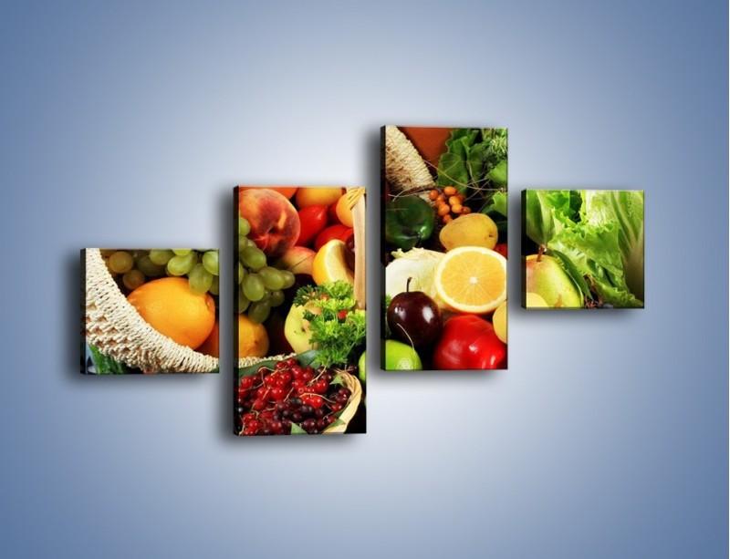 Obraz na płótnie – Kosz pełen owocowo-warzywnego zdrowia – czteroczęściowy JN059W3