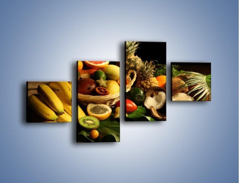 Obraz na płótnie – Kosz egzotycznych owoców – czteroczęściowy JN074W3