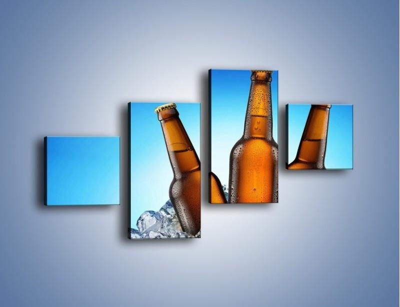 Obraz na płótnie – Szron na butelkach piwa – czteroczęściowy JN075W3