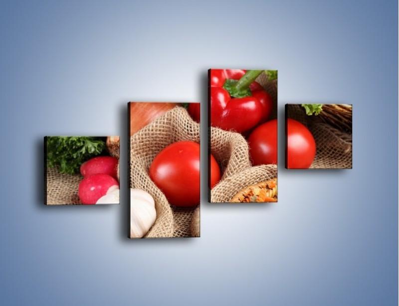 Obraz na płótnie – Makaron z warzywami – czteroczęściowy JN076W3