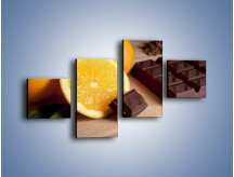 Obraz na płótnie – Czekoladowo-pomarańczowa rozkosz – czteroczęściowy JN094W3