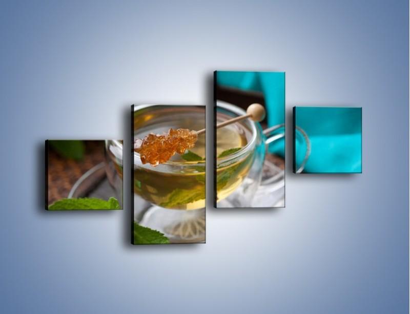 Obraz na płótnie – Oczyszczająca zielona herbata – czteroczęściowy JN104W3