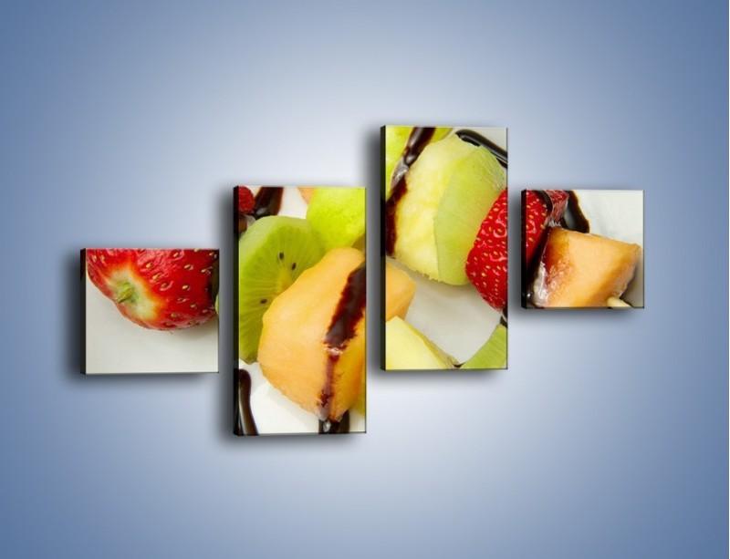Obraz na płótnie – Czekoladowo-owocowe szaszłyki – czteroczęściowy JN112W3