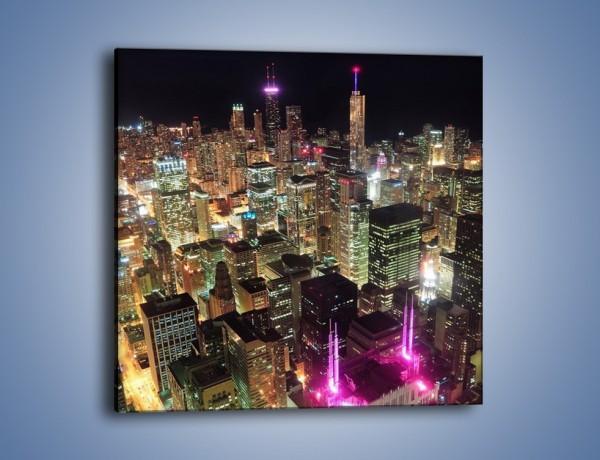 Obraz na płótnie – Miasto w sztucznym świetle wieżowców – jednoczęściowy kwadratowy AM133