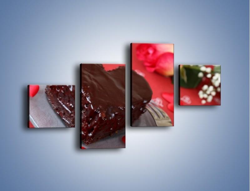Obraz na płótnie – Czekoladowa uczta zakochanych – czteroczęściowy JN257W3