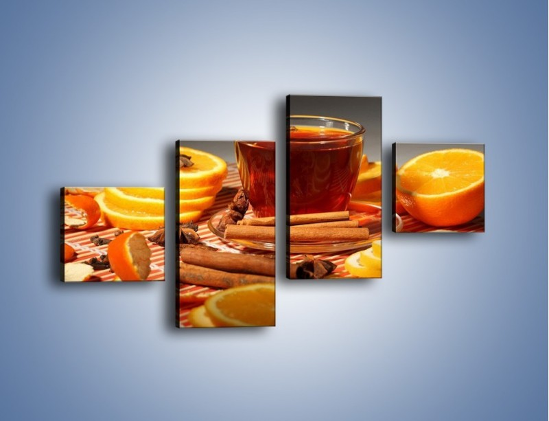 Obraz na płótnie – Imbirowo-pomarańczowe rozluźnienie – czteroczęściowy JN260W3