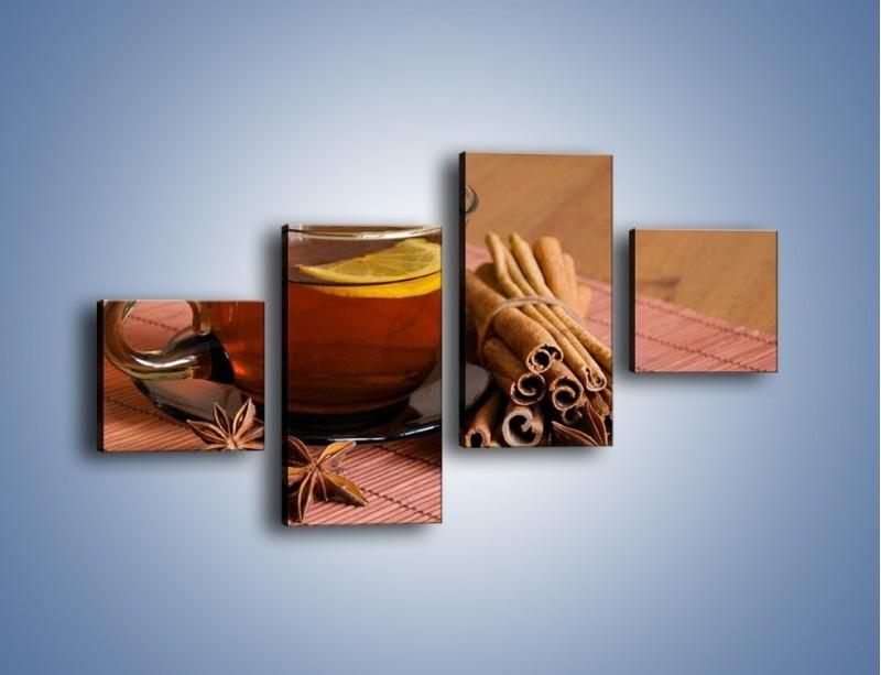 Obraz na płótnie – Rozgrzewająca filiżanka herbaty – czteroczęściowy JN266W3