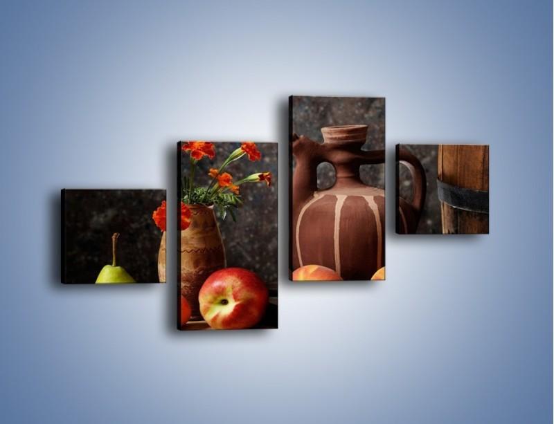 Obraz na płótnie – Kwiaty wśród owoców – czteroczęściowy JN280W3