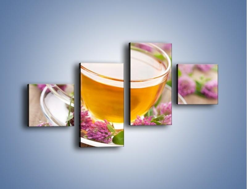 Obraz na płótnie – Herbata z kwiatami – czteroczęściowy JN283W3
