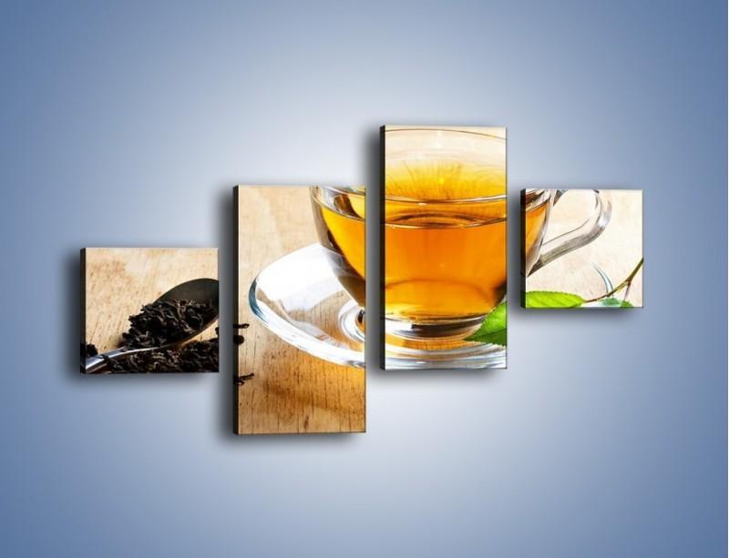 Obraz na płótnie – Listek mięty dla orzeźwienia herbaty – czteroczęściowy JN290W3