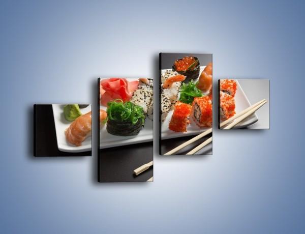 Obraz na płótnie – Kuchnia azjatycka na półmisku – czteroczęściowy JN295W3