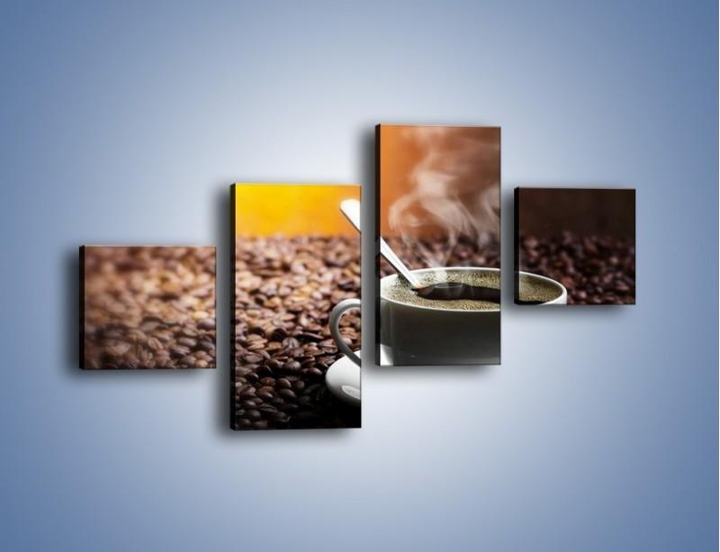 Obraz na płótnie – Aromatyczna filiżanka kawy – czteroczęściowy JN298W3