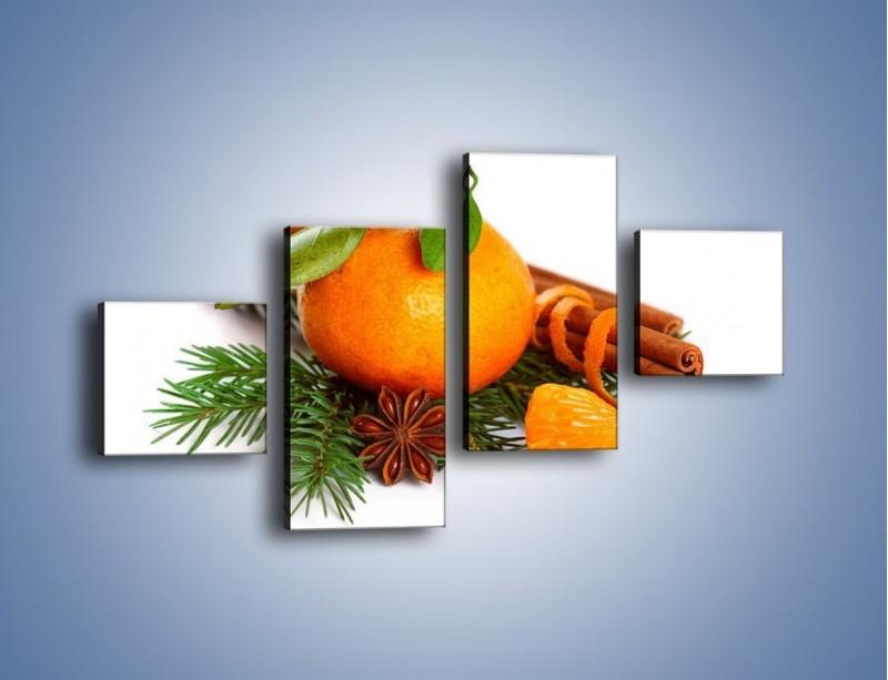 Obraz na płótnie – Pomarańcza na święta – czteroczęściowy JN306W3