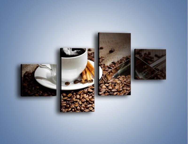 Obraz na płótnie – Czarna palona kawa – czteroczęściowy JN311W3