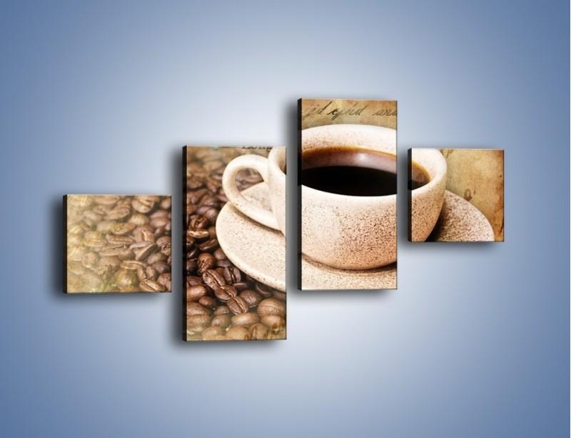 Obraz na płótnie – List przy filiżance kawy – czteroczęściowy JN347W3