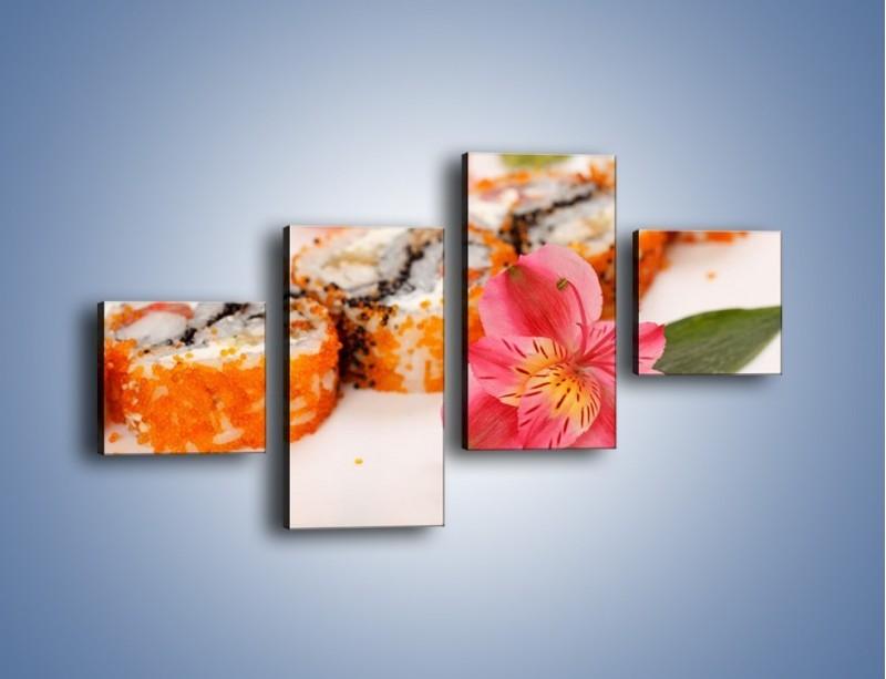 Obraz na płótnie – Sushi z kwiatem – czteroczęściowy JN354W3