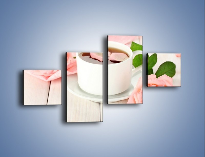 Obraz na płótnie – Herbata wśród róż – czteroczęściowy JN369W3