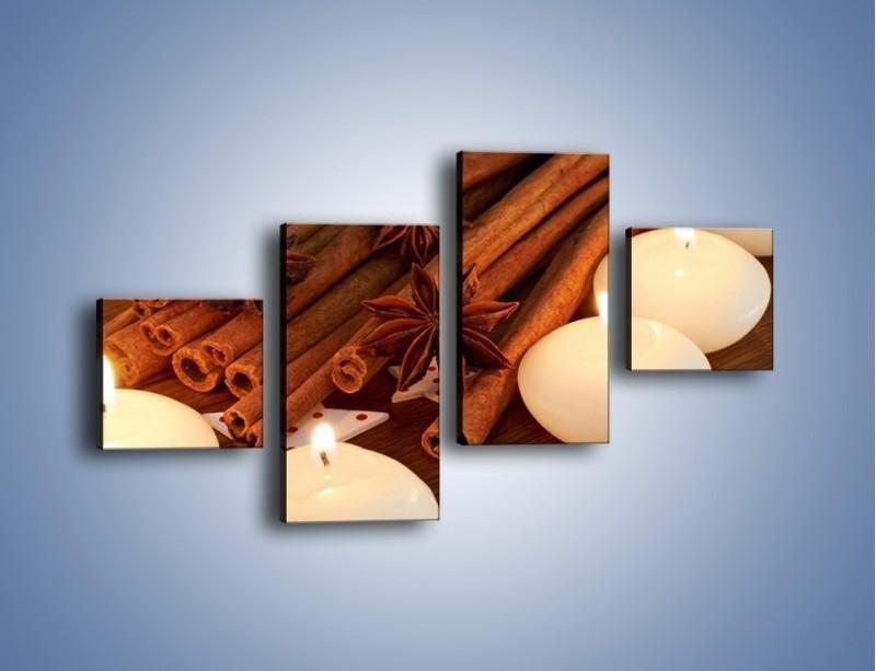 Obraz na płótnie – Cynamonowe szaleństwa przy świecach – czteroczęściowy JN371W3