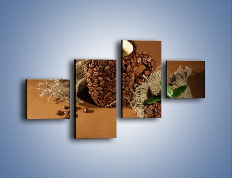 Obraz na płótnie – Kubek z ziarnami kawy – czteroczęściowy JN388W3