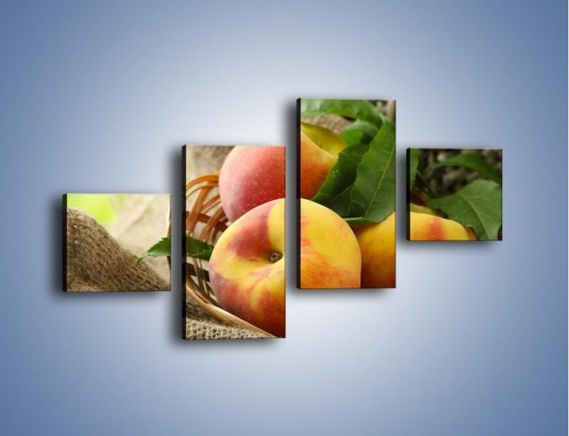 Obraz na płótnie – Dojrzałe jabłka w koszu – czteroczęściowy JN390W3