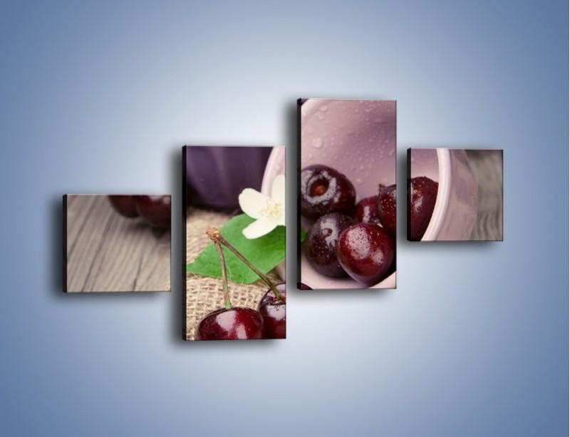 Obraz na płótnie – Wiśnie w małych pucharkach – czteroczęściowy JN399W3