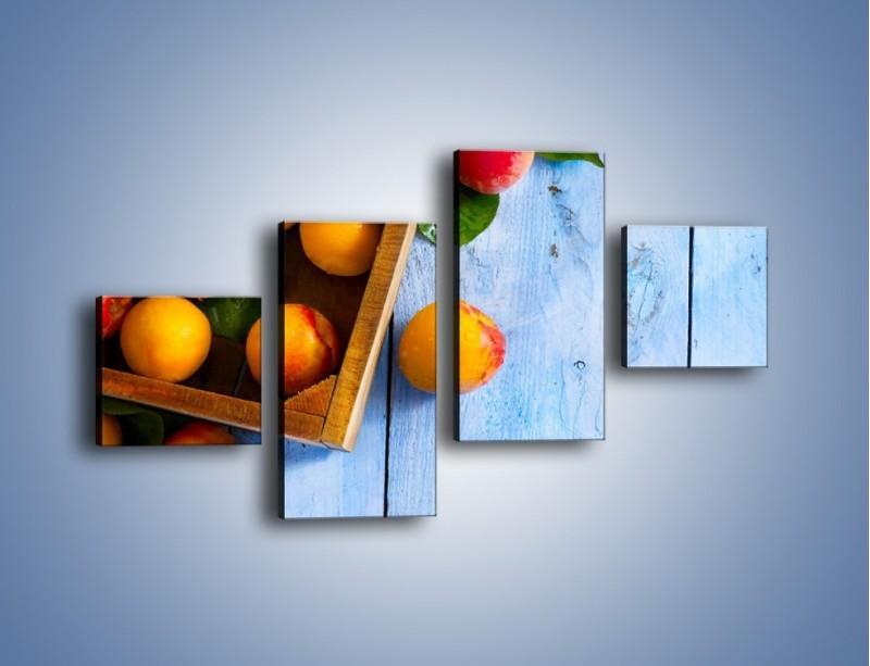 Obraz na płótnie – Brzoskwinie w drewnianej skrzyni – czteroczęściowy JN404W3