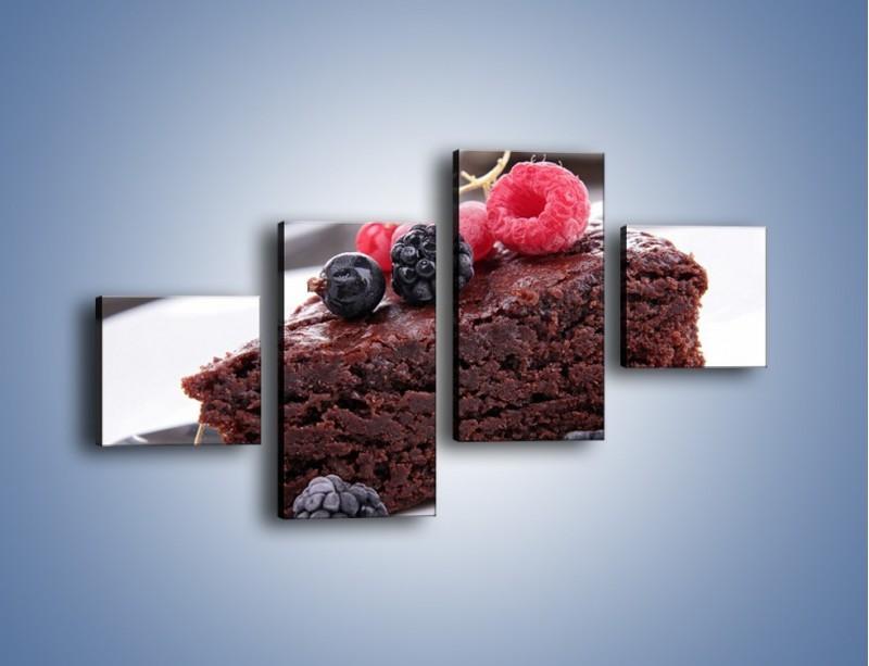 Obraz na płótnie – Czekoladowe brownie z owocami – czteroczęściowy JN408W3