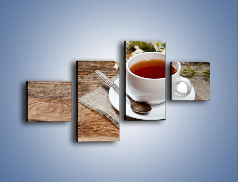 Obraz na płótnie – Herbata wśród stokrotek – czteroczęściowy JN413W3