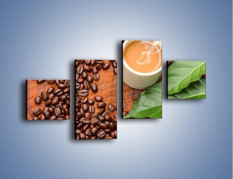 Obraz na płótnie – Ziarna kawy pod liściem – czteroczęściowy JN417W3