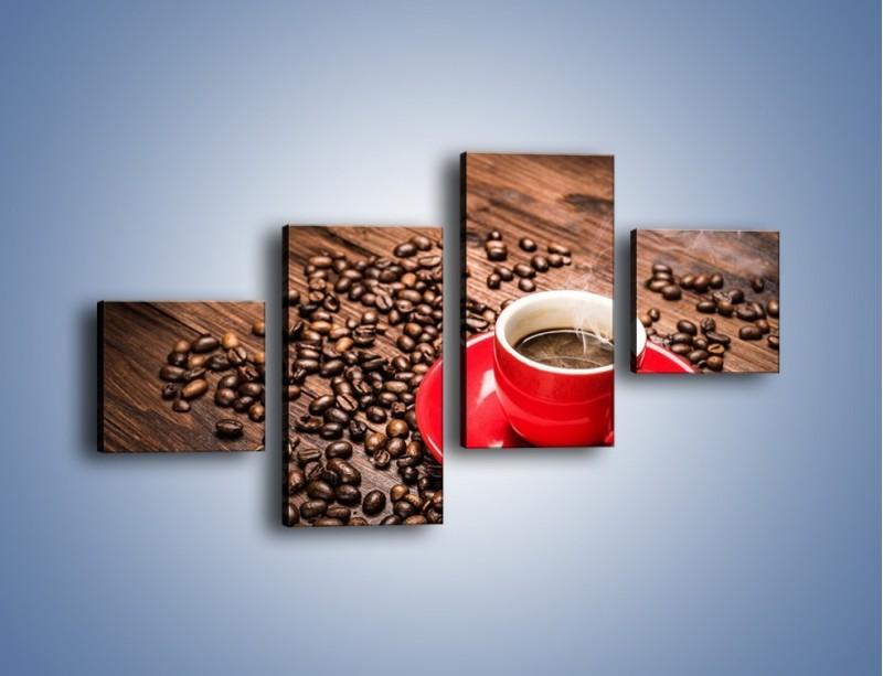 Obraz na płótnie – Kawa w czerwonej filiżance – czteroczęściowy JN441W3